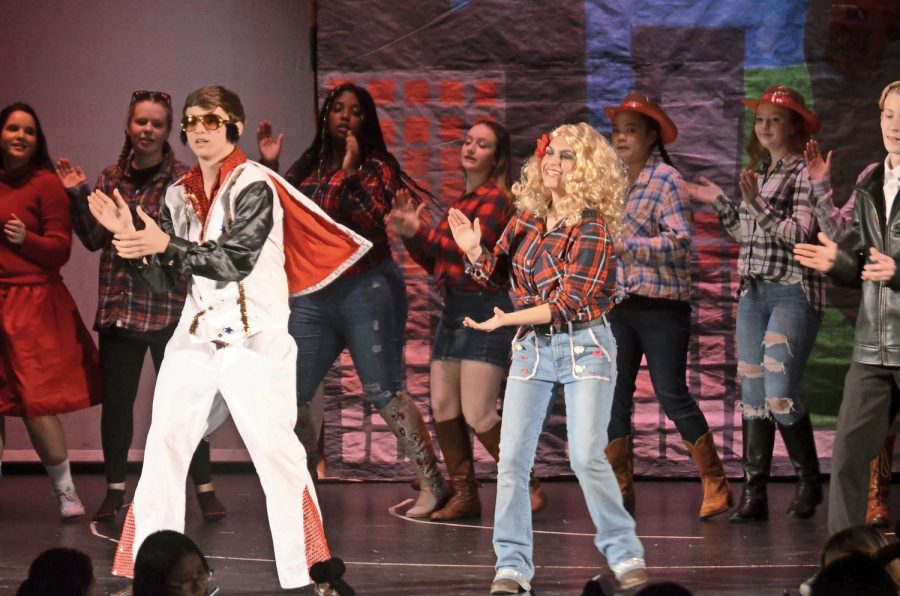 Freshman class.   Elvis played by Mike Kilgus; Dolly Parton played by Grace Wayar.